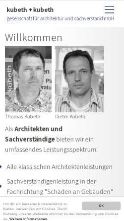 Vorschau der mobilen Webseite kubeth.com, Kubeth + kubeth | gesellschaft für architektur und sachverstand mbH