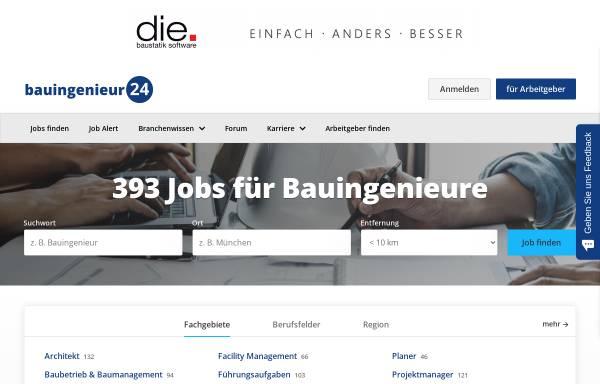 Vorschau von www.bauingenieur24.de, Bauingenieur24.de Informationsdienst, Inh. Dipl.-Ing. Christian Wieg