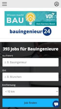 Vorschau der mobilen Webseite www.bauingenieur24.de, Bauingenieur24.de Informationsdienst, Inh. Dipl.-Ing. Christian Wieg