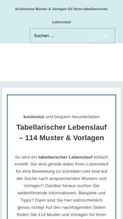 Vorschau der mobilen Webseite tabellarischer-lebenslauf.net, Tabellarischer-Lebenslauf.net