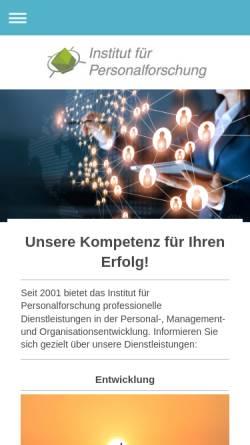 Vorschau der mobilen Webseite www.personalforschung.de, Institut für Personalforschung - Prof. Dr. Christian Ernst