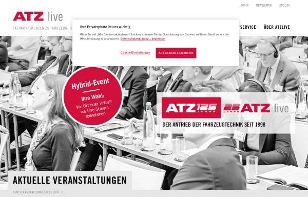 Vorschau von www.atzlive.de, ATZlive Springer Vieweg, Springer Fachmedien Wiesbaden GmbH