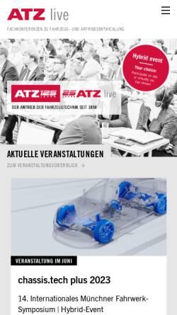 Vorschau der mobilen Webseite www.atzlive.de, ATZlive Springer Vieweg, Springer Fachmedien Wiesbaden GmbH