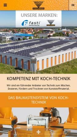 Vorschau der mobilen Webseite www.koch-technik.com, Werner Koch Maschinentechnik GmbH