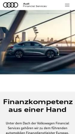 Vorschau der mobilen Webseite www.audibank.de, Audi Bank, Zweigniederlassung der Volkswagen Bank GmbH
