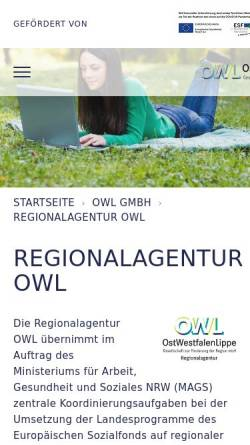 Vorschau der mobilen Webseite www.regionalagentur-owl.de, Regionalagentur OWL
