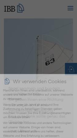 Vorschau der mobilen Webseite www.ibb-ag.com, IBB Internationales Bankhaus Bodensee AG