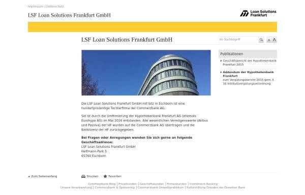 Vorschau von www.hypothekenbankfrankfurt.com, Hypothekenbank Frankfurt AG