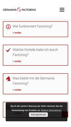 Vorschau der mobilen Webseite www.germania-factoring.de, Germania Factoring AG