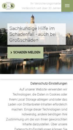 Vorschau der mobilen Webseite www.dresdner-versicherungsmakler.de, Falkenberg & Kakies GmbH + Co. KG