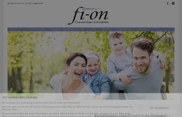 """Vorschau von www.fi-on.de, fi-on """"Finanzierungen & Immobilien- online"""" OHG"""