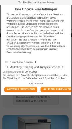Vorschau der mobilen Webseite www.tam-europe.com, Tam-Europe limited Deutschland
