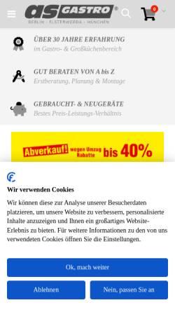 Vorschau der mobilen Webseite www.as-gastro.de, AS-Gastro Handels- und Betriebsgesellschaft mbH