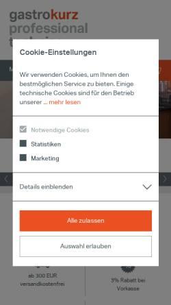 Vorschau der mobilen Webseite www.gastro-kurz.com, Kälte Kurz Shopping GmbH & Co. KG