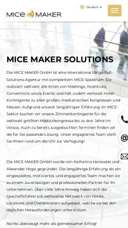 Vorschau der mobilen Webseite www.mice-maker.de, MICE MAKER GmbH