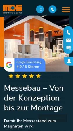 Vorschau der mobilen Webseite www.mdsmessebau.de, MDS Messebau und Service Gesellschaft für Planung Gestaltung Ausführung mbh