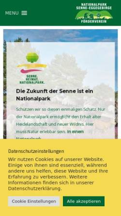 Vorschau der mobilen Webseite www.nationalpark-senne-eggegebirge.de, Förderverein Nationalpark Senne-Eggegebirge e.V.