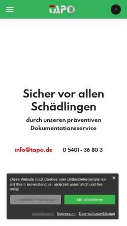 Vorschau der mobilen Webseite www.tapo24.de, TAPO Service & Handel GmbH