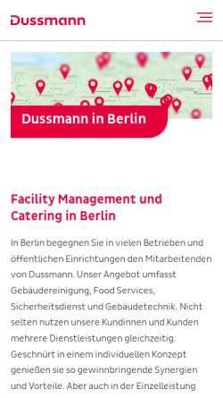 Vorschau der mobilen Webseite www.dussmann.com, Dussmann Service Deutschland GmbH