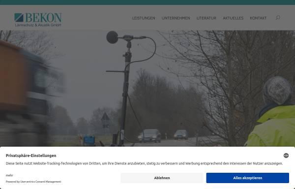 Vorschau von www.bekon-akustik.de, Bekon Lärmschutz & Akustik GmbH