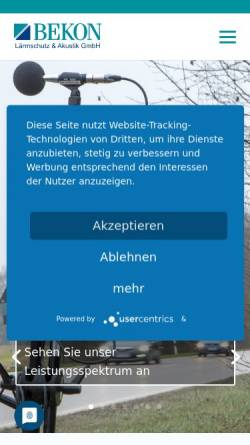 Vorschau der mobilen Webseite www.bekon-akustik.de, Bekon Lärmschutz & Akustik GmbH