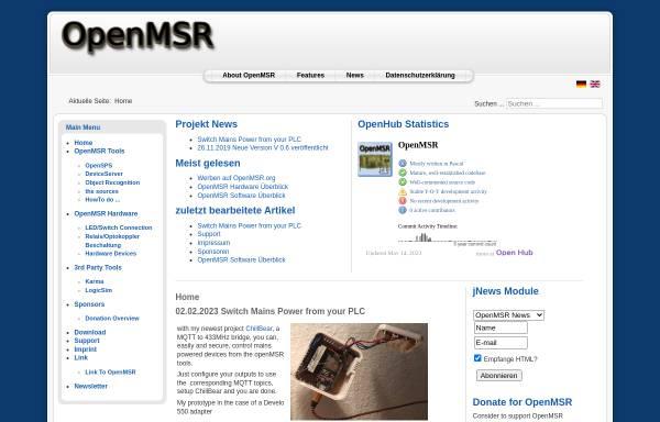 Vorschau von openmsr.org, Messen, Steuern und Regeln mit OpenMSR by Hartmut Eilers