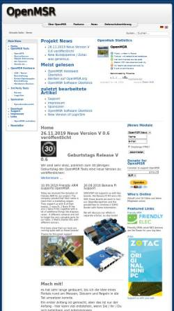 Vorschau der mobilen Webseite openmsr.org, Messen, Steuern und Regeln mit OpenMSR by Hartmut Eilers