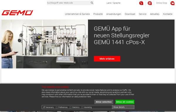 Vorschau von www.gemu-group.com, GEMÜ Gebr. Müller Apparatebau GmbH & Co. KG