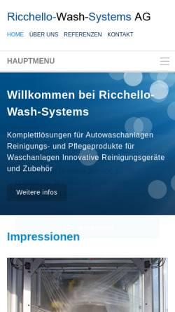 Vorschau der mobilen Webseite ricchello-wash-systems.ch, Ricchello-Wash-Systems AG