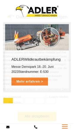 Vorschau der mobilen Webseite www.adler-arbeitsmaschinen.de, Adler Arbeitsmaschinen GmbH & Co. KG