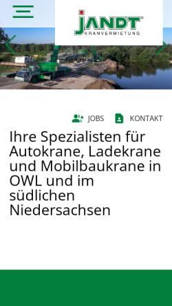 Vorschau der mobilen Webseite www.jandt.de, Jandt Kranvermietung GmbH