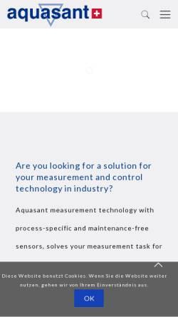 Vorschau der mobilen Webseite www.aquasant-mt.com, Aquasant Messtechnik AG