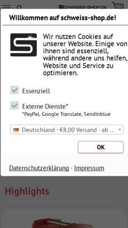 Vorschau der mobilen Webseite www.schweiss-shop.de, Wülfken-Schweisstechnik