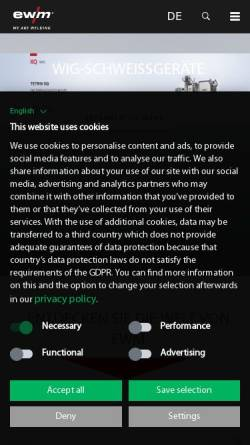 Vorschau der mobilen Webseite www.ewm-group.com, EWM AG