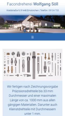 Vorschau der mobilen Webseite www.dreherei-soell.de, Facondreherei Wolfgang Söll