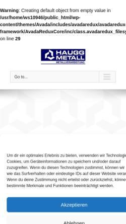 Vorschau der mobilen Webseite www.haugg-metall.de, Erich Haugg GmbH & Co. Metallverarbeitung