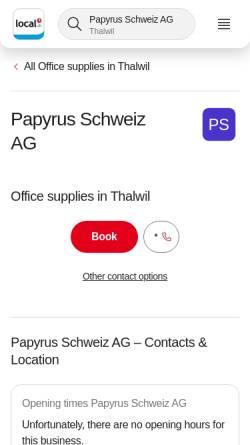 Vorschau der mobilen Webseite www.papyrus.com, Papyrus Schweiz AG