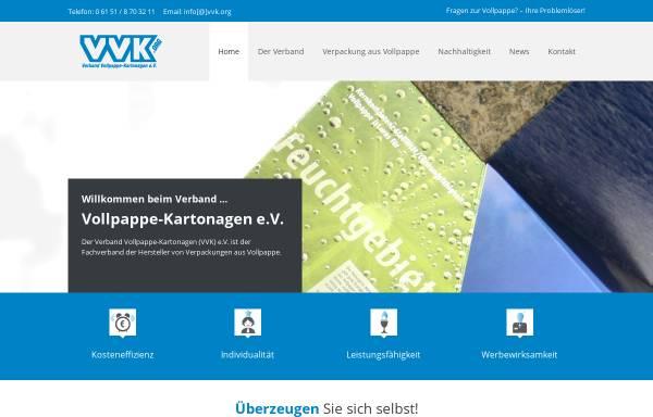 Vorschau von www.vvk.org, Verband Vollpappe-Kartonagen (VVK) e.V
