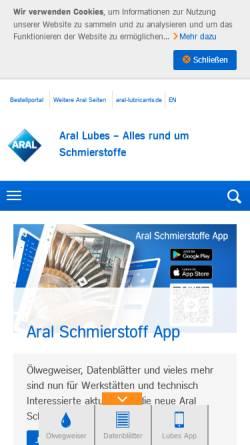 Vorschau der mobilen Webseite www.aral-lubricants.de, Aral Aktiengesellschaft / Lubes Aral