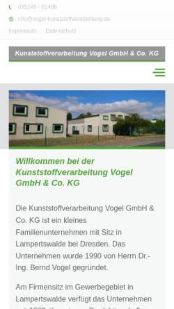 Vorschau der mobilen Webseite www.vogel-kunststoffverarbeitung.de, Dr.-Ing. Bernd Vogel