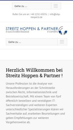 Vorschau der mobilen Webseite www.shp-itexperts.de, Streitz Hoppen & Partner