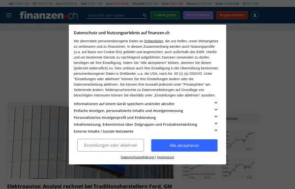 Vorschau von www.finanzen.ch, Finanzen.net GmbH