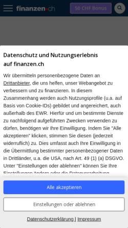 Vorschau der mobilen Webseite www.finanzen.ch, Finanzen.net GmbH