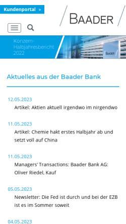 Vorschau der mobilen Webseite www.bondboard.de, Baader Bank AG, Bondboard
