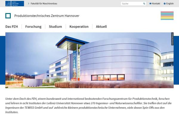 Vorschau von www.pzh-hannover.de, PZH Produktionstechnisches Zentrum der Leibniz Universität Hannover