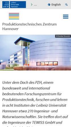 Vorschau der mobilen Webseite www.pzh-hannover.de, PZH Produktionstechnisches Zentrum der Leibniz Universität Hannover