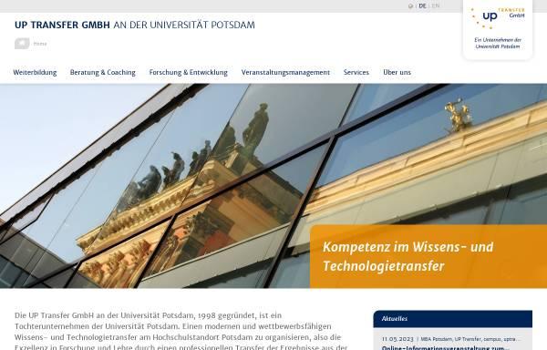 Vorschau von www.potsdam-transfer.de, Potsdam Transfer Zentrum für Gründung, Innovation, Wissens- und Technologietransfer - Universität Potsdam