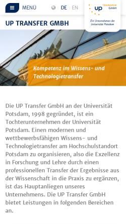 Vorschau der mobilen Webseite www.potsdam-transfer.de, Potsdam Transfer Zentrum für Gründung, Innovation, Wissens- und Technologietransfer - Universität Potsdam