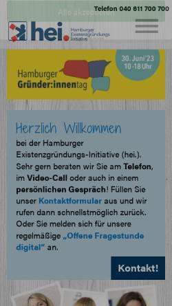Vorschau der mobilen Webseite www.gruenderhaus.hamburg, Gründerhaus - H.E.I. Hamburger ExistenzgründungsInitiative