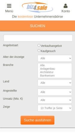 Vorschau der mobilen Webseite www.biz4.sale, Biz4sale - Stemas AG